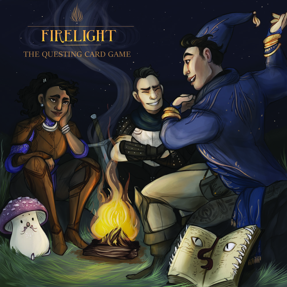 Firelight: The Questing Card Game. Box art by Caitlin Scannell.