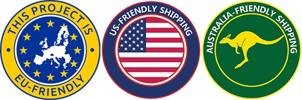 Examples of EU, US, and AU-friendly shipping icons