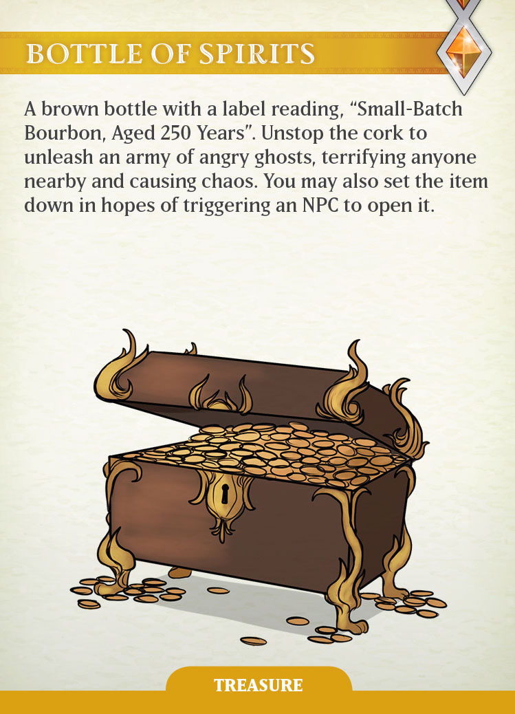 The Bottle of Spirits Treasure card in Firelight