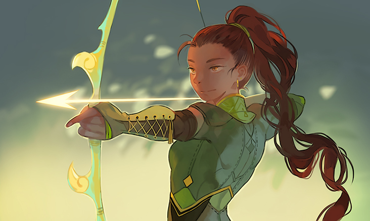 An Archer in Firelight (art by Loika)