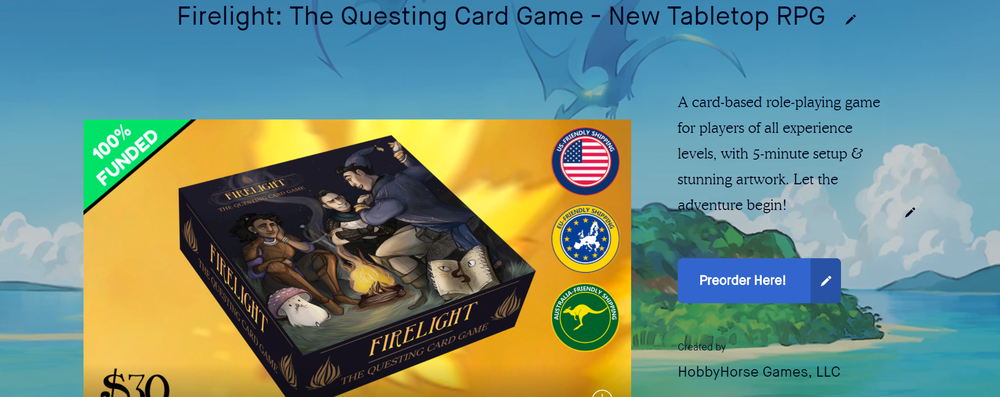 A screenshot of the Firelight Kickstarter page