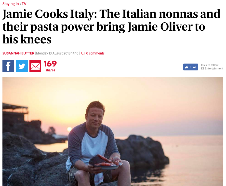 Mentioned in The Evening Standard review of Jamie Oliver's series