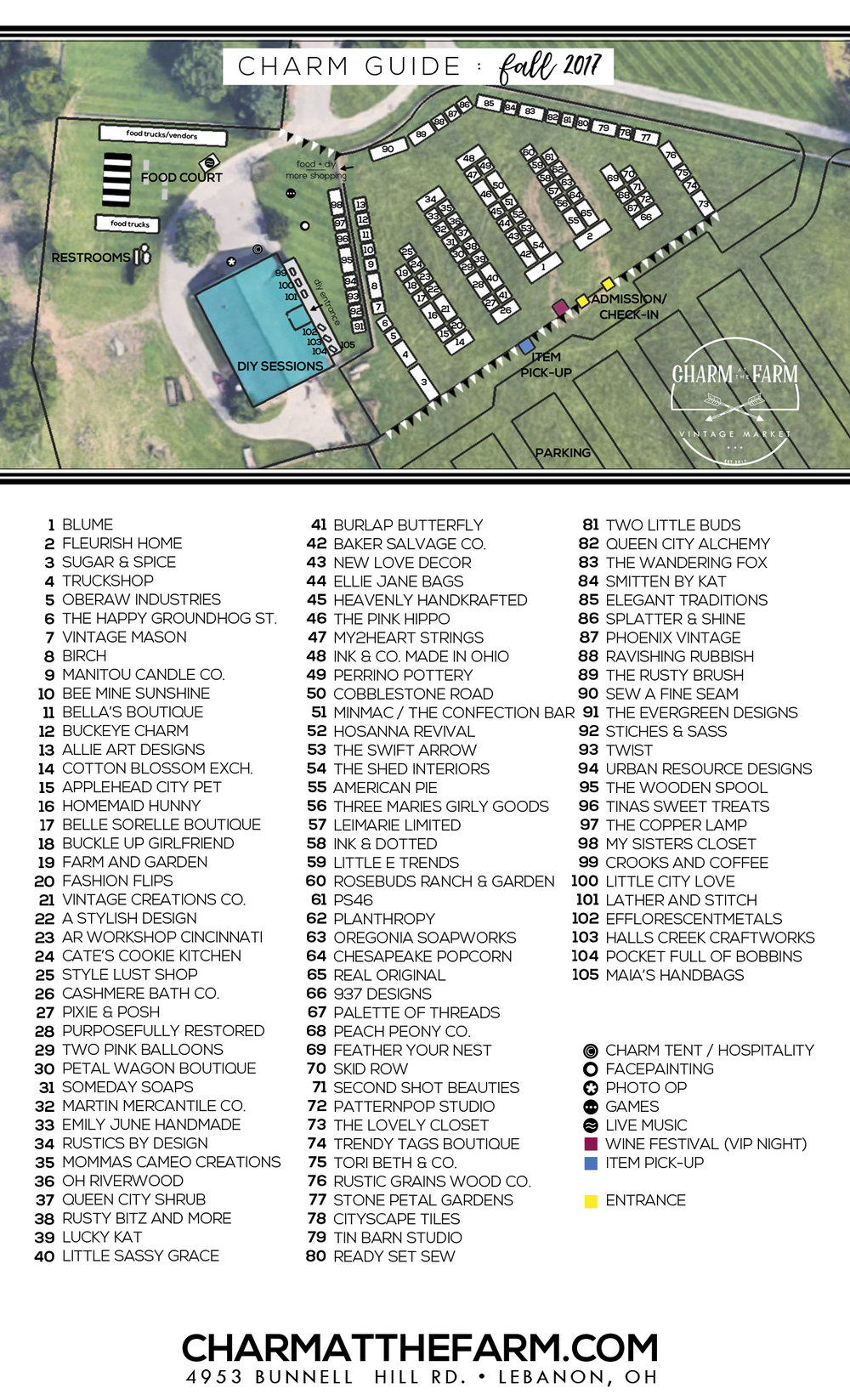 Fall Vendors - Our complete list of vendors for our Charm at the Farm Grand Opening can be found here.In addition to over 100 amazing vendors - there will be food trucks and other charming experiences for you and your besties to take advantage of October 27-29.Can't wait to see you at the Farm!