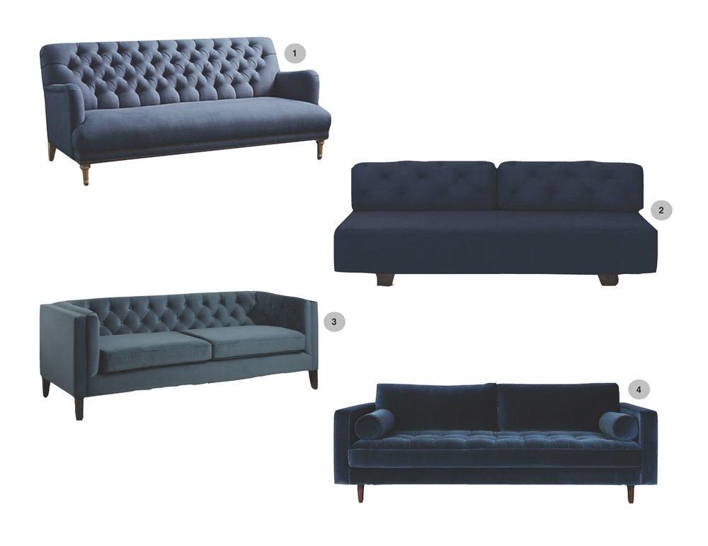1.Linen Orianna|2.Tillary Tufted|3.Velvet Kendall|4.Sven Cascadia