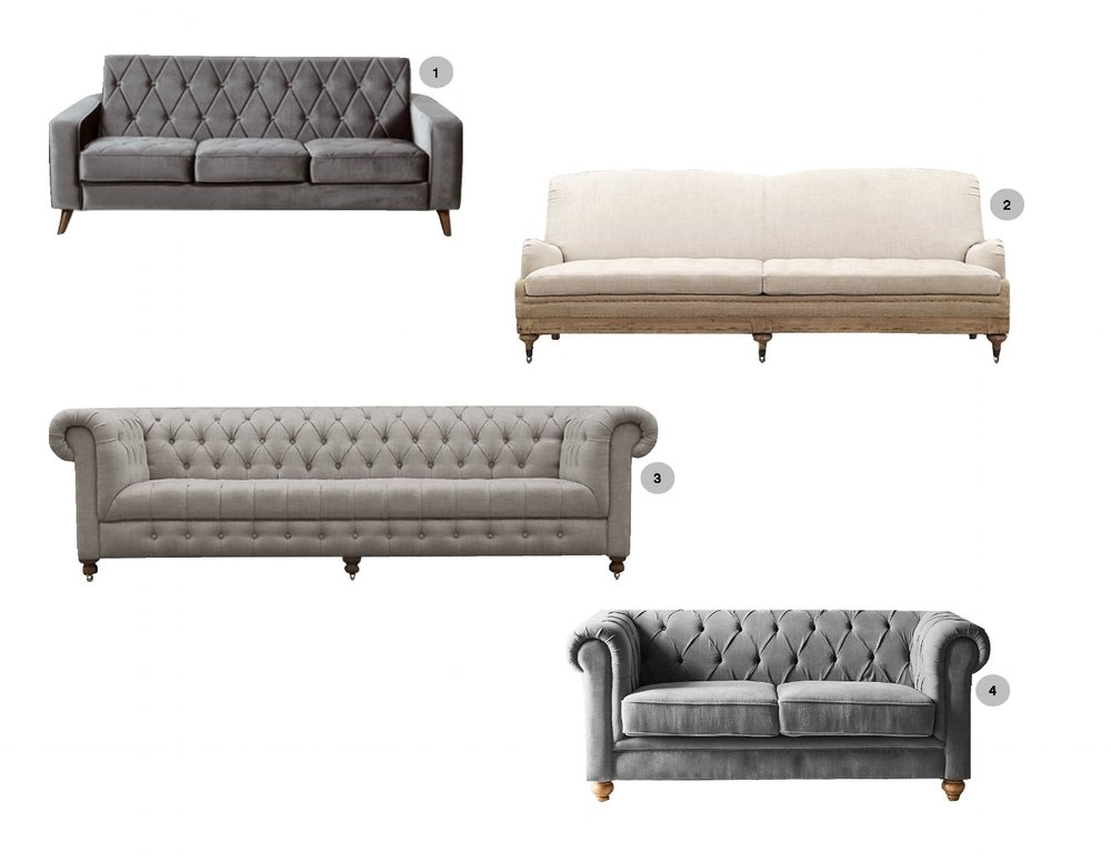 1. Wallasey Petite |2. Deconstructed English Roll Arm |3. Cambridge |4. Sofia Chesterfield
