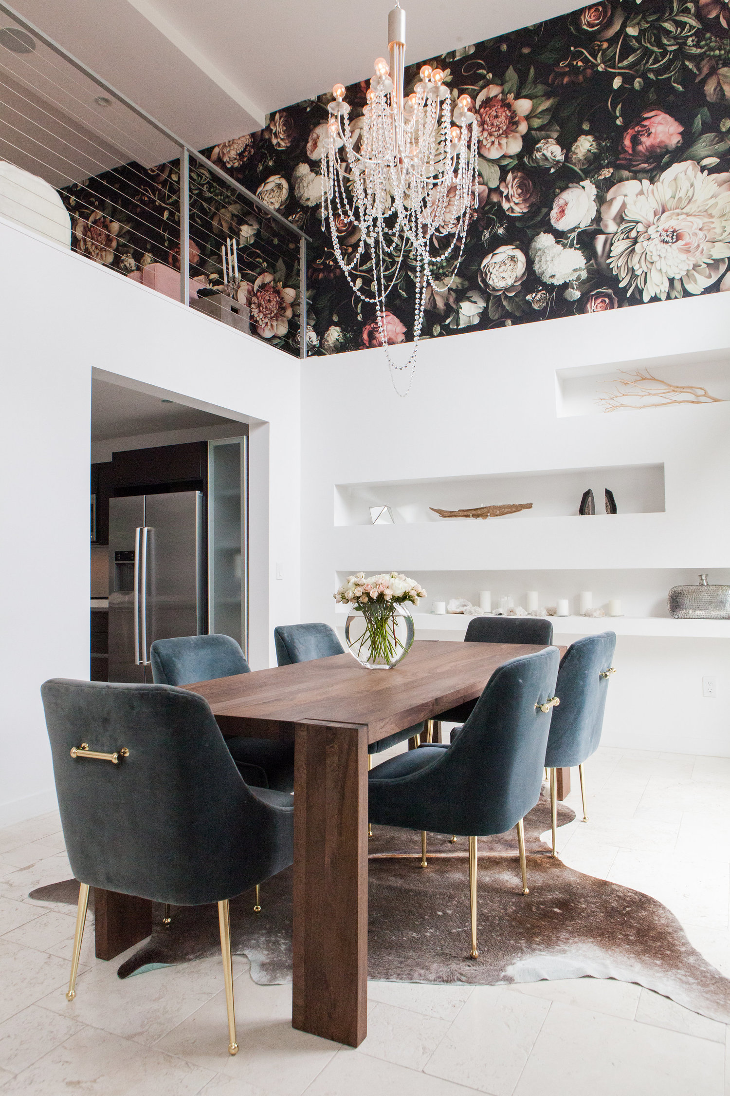 Project Reveal Modern Glam Home With Bold Floral Wallpaper