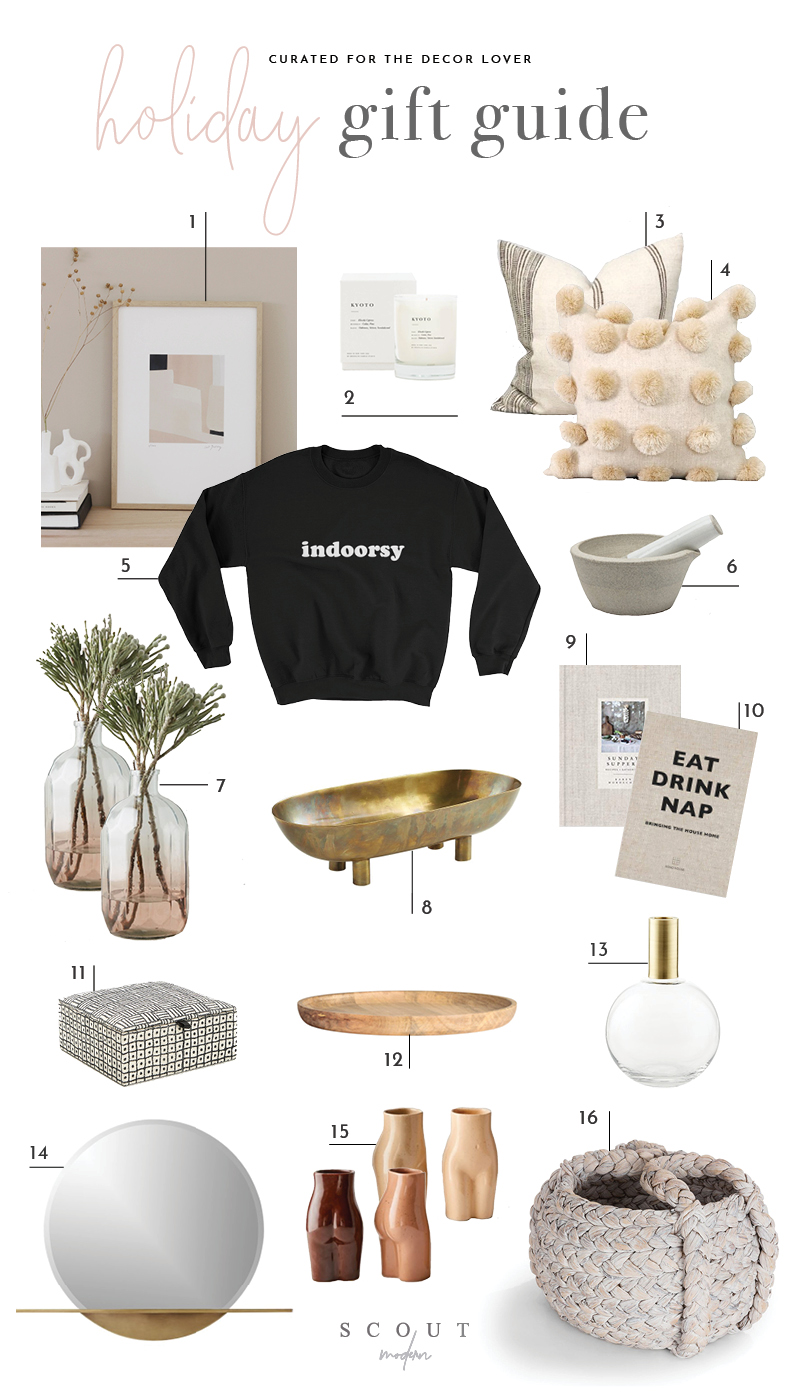 1.  Abstract Art Print  | 2.  Candle  | 3.  Striped Pillow  | 4.  Pom Pom Pillow  | 5.  Indoorsy Sweatshirt  | 6.  Mortar & Pestle  | 7.  Ombre Pink Vase  | 8.  Brass Footed Bowl  | 9.  Sunday Suppers  | 10.  Eat, Drink, Nap  | 11.  Decorative Box  | 12.  Wooden Tray  | 13.  Vase  | 14.  Mirror  | 14.  Body Vases  | 15.  Woven Basket