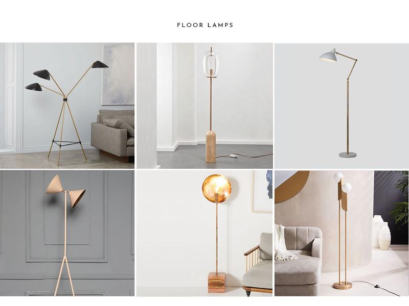 1.  Curvilinear Floor Lamp  | 2.  Capullo Floor Lamp  | 3.  Coulee Floor Lamp  | 4.  SALLY Light  | 5.  Lourdes Floor Lamp  | 6.  Bower Floor Lamp