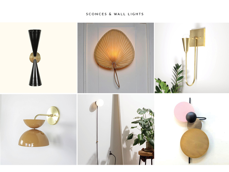 1.  Double Cone Sconce  | 2.  Palm Leaf Wall Light  | 3.  Harvey Brass Sconce  | 4.  Flourish Sconce  | 5.  Hiline Sconce  | 6.  CANDY sconce