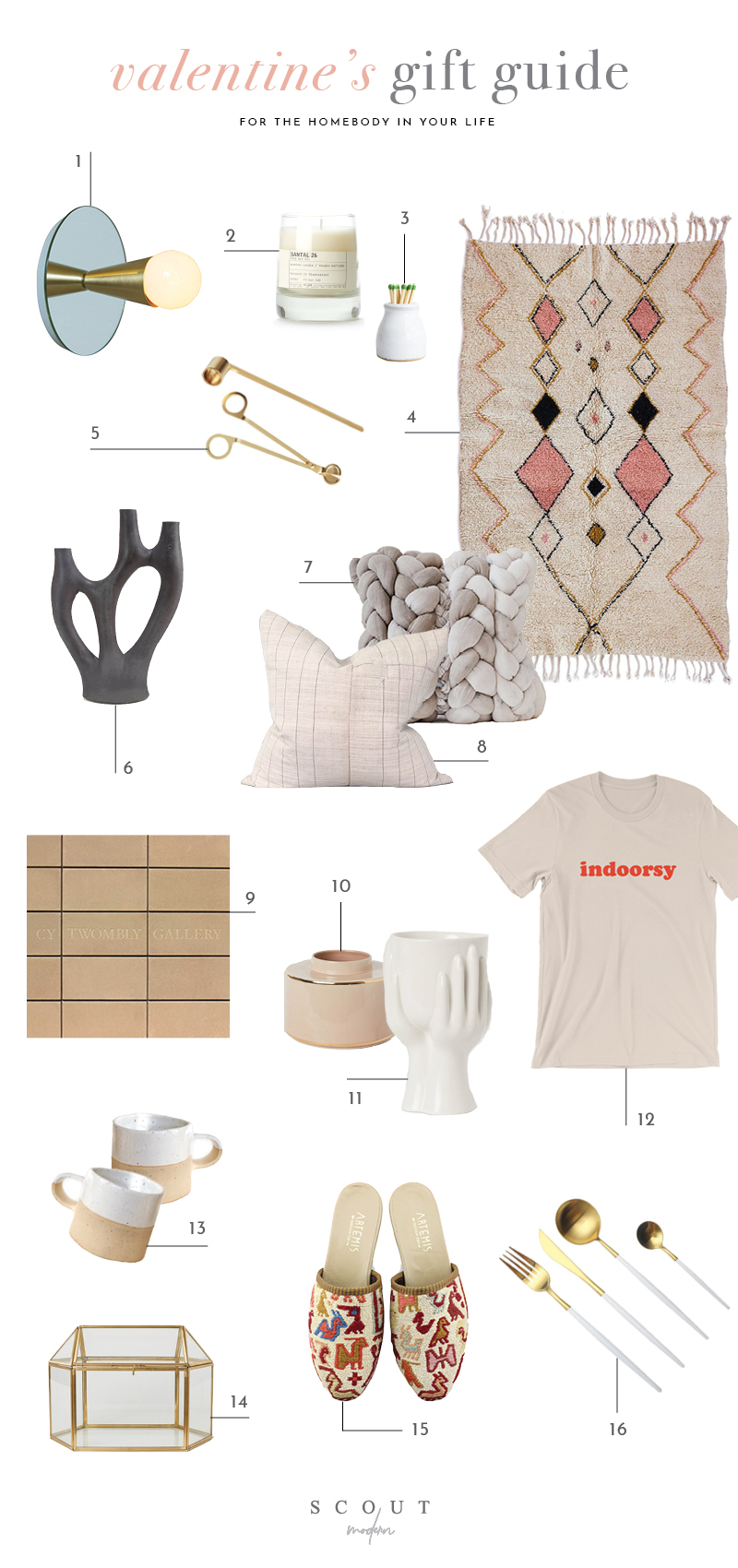 1.  Mirrored Sconce  | 2.  Candle  | 3.  Milk Bottle Match Striker  | 4.  Shag Rug  | 5.  Wick Trimmer and Candle Snuffer  | 6.  Concrete Candelabra  | 7.  Hand Died Plaited Pillow  | 8.  Hemp Striped Pillow  | 9.  Cy Twombly Gallery Book  | 10.  Wide Ceramic Vase  | 11.  Stoneware Vase  | 12.  Indoorsy Tee  | 13.  Ceramic Pottery Mug  | 14.  Mini Greenhouse  | 15.  Kilim Slides  | 16.  Flatware