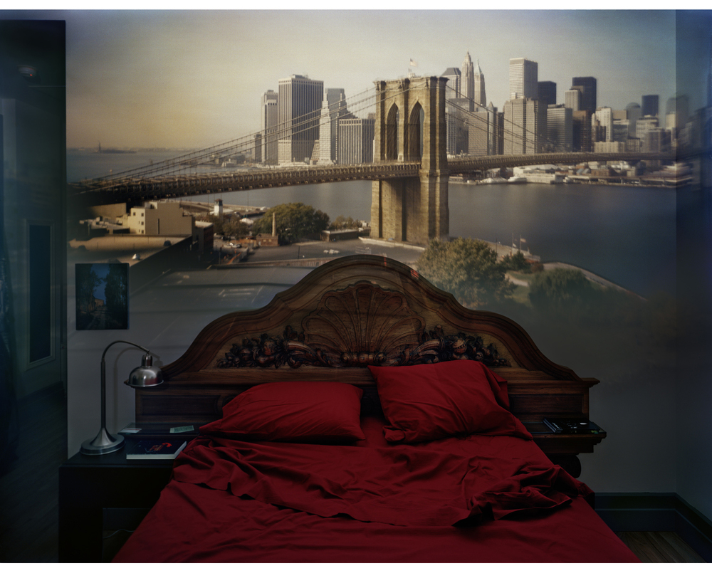 Abelardo Morell,  Camera Obscura: View of the Brooklyn Bridge from Bedroom,  2009 .  Courtesy of the artist and Edwynn Houk Gallery.
