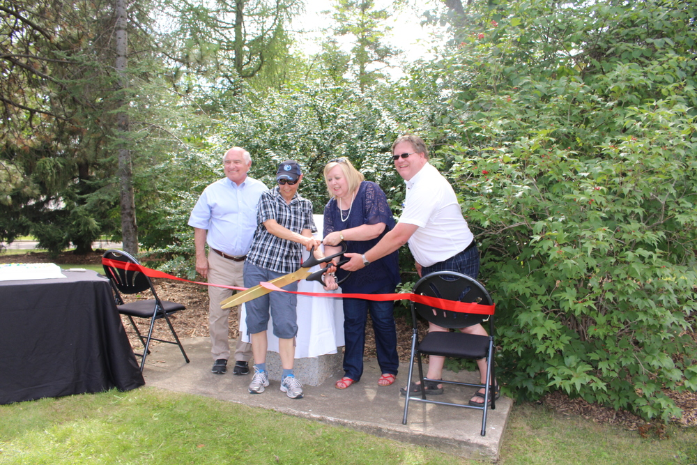 Ribbon Cutting - From Left: Larry Smook, Winnifred Stewart Association, Jill Brighton, Friends of Inglewood, Councillor Bev Esslinger, Brad Marshall, Inglewood Community League