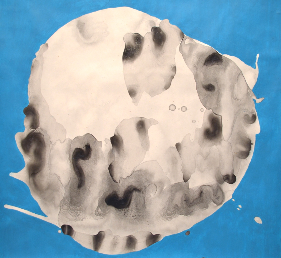 Small Blue Moon 2015 acrylic, chinese ink on paper 16x16 available