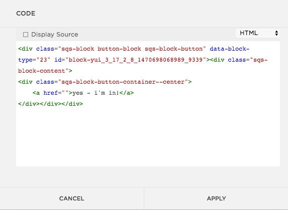 paste html into code block