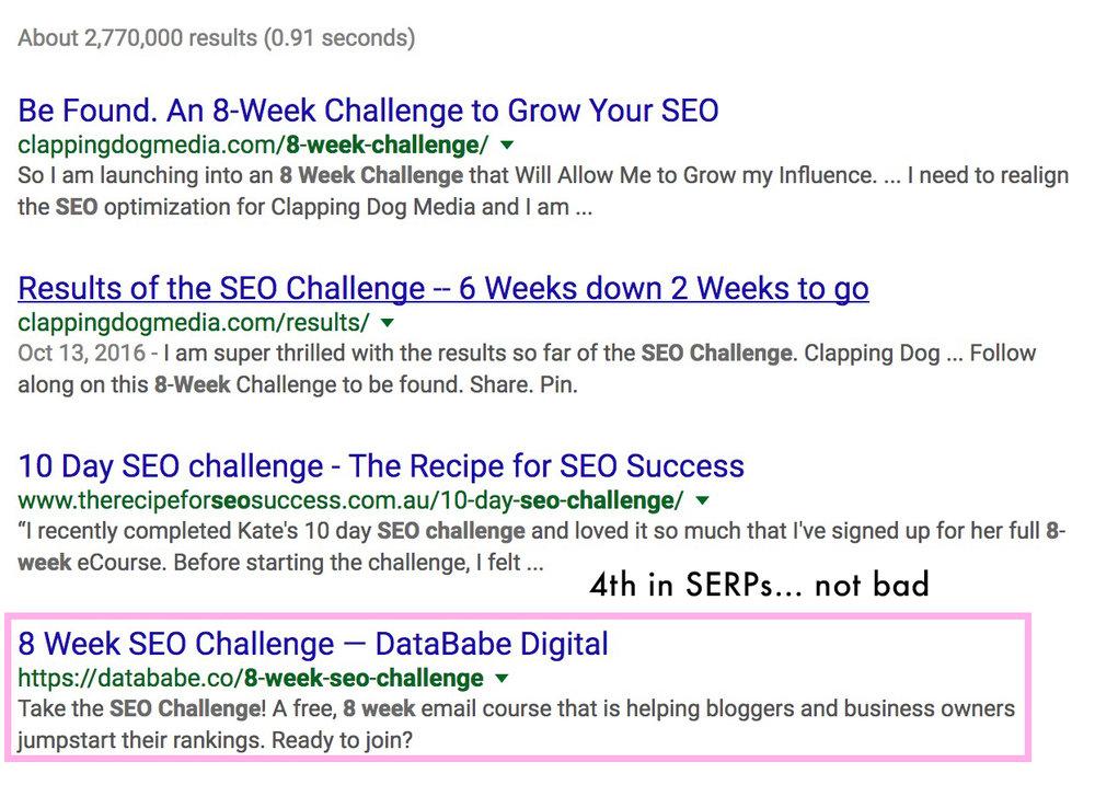 8 Week SEO Challenge Google Rankings