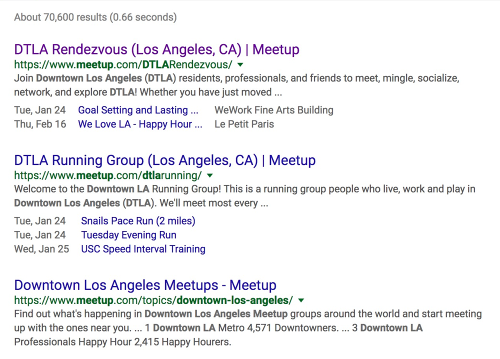 DTLA Rendezvous leverages meetup.com for rankings
