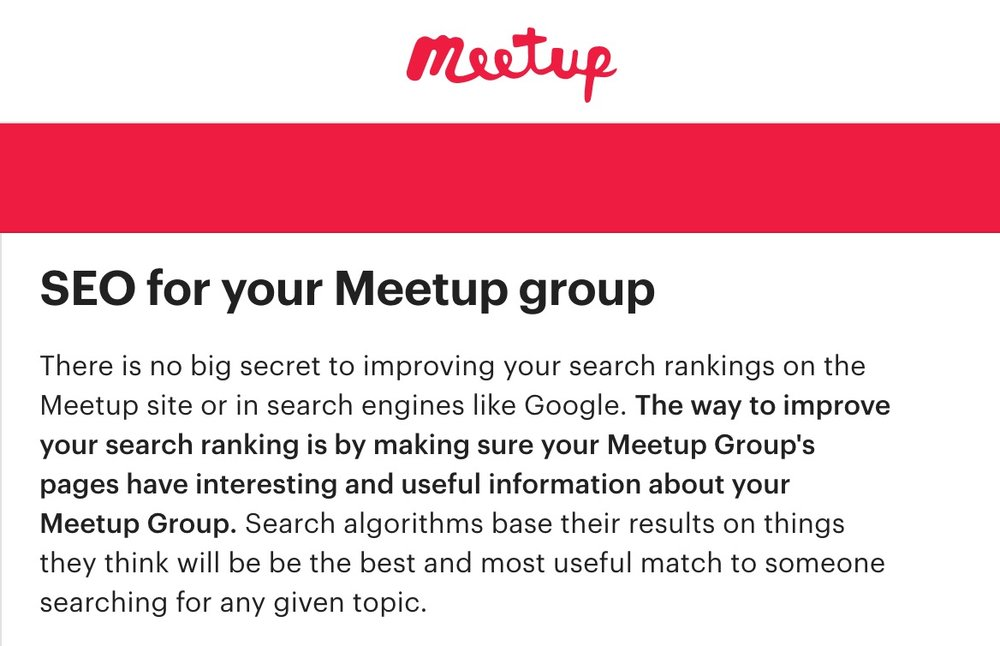 Meetup outlines their SEO tips for you on their site.