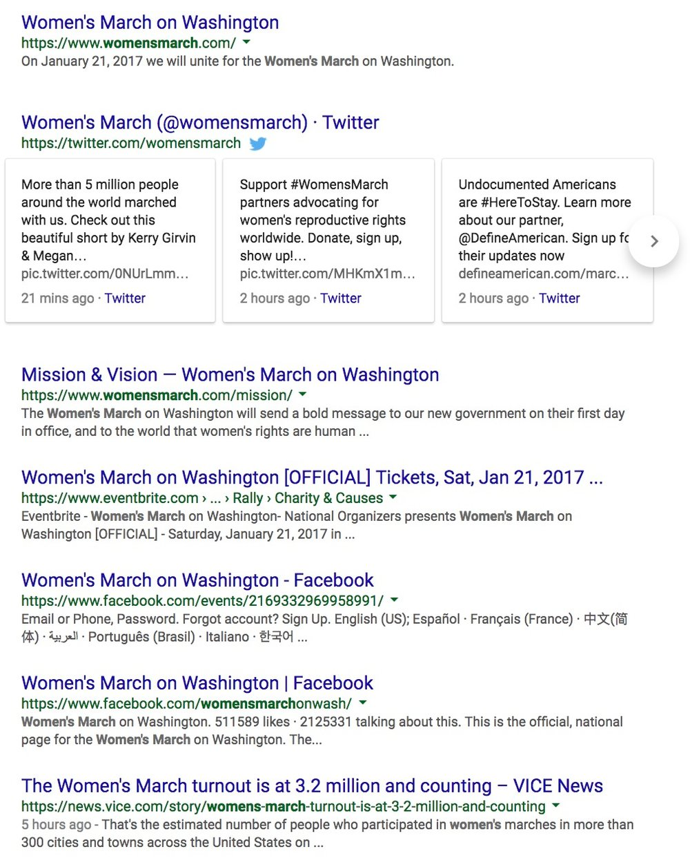 Women's March dominated SERPs in a very short amount of time