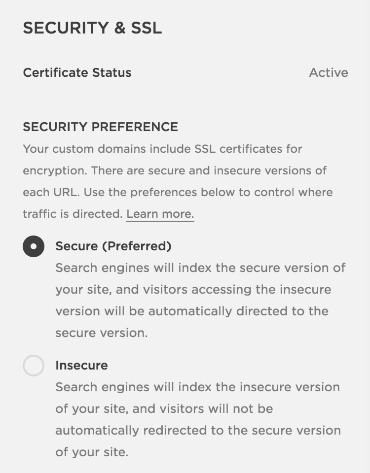 Set your Squarespace site to Secure in your settings