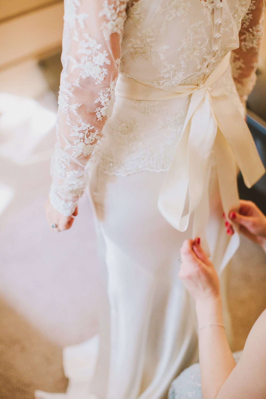 Jo-Peak-District-Autumn-Wedding-Bespoke-Vintage-Bias-Wedding-Gown-Lace-Jacket-Susanna-Greening-Matlock-9