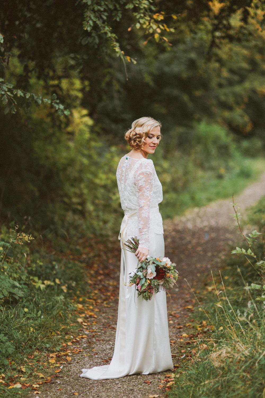 Jo-Peak-District-Autumn-Wedding-Bespoke-Vintage-Bias-Wedding-Gown-Lace-Jacket-Susanna-Greening-Matlock-12
