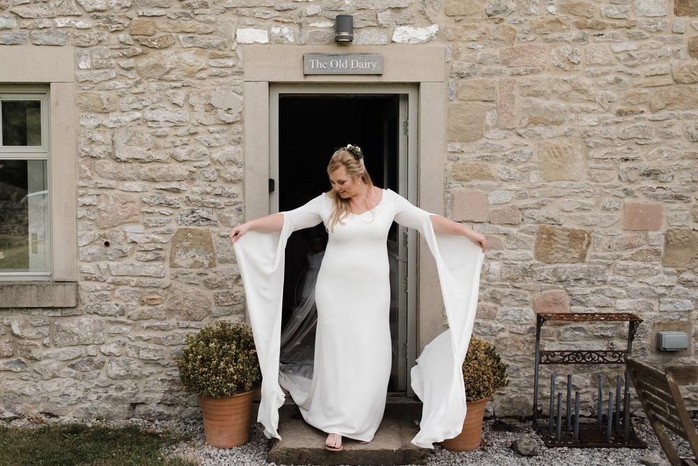 Lauren-Peak-District-Bespoke-Wedding-Gown-Petal-Veil-Train-Long-Sleeve-Susanna-Greening-Designs-Matlock-Derbyshire-17