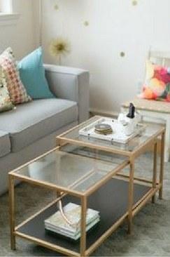 Coffee Table Modern Gold Tahoe Rustic Rentals