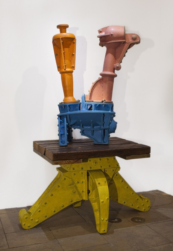 Doug Herren, Large Industrial Teapot (top); Yellow Table Stand (bottom), 2012