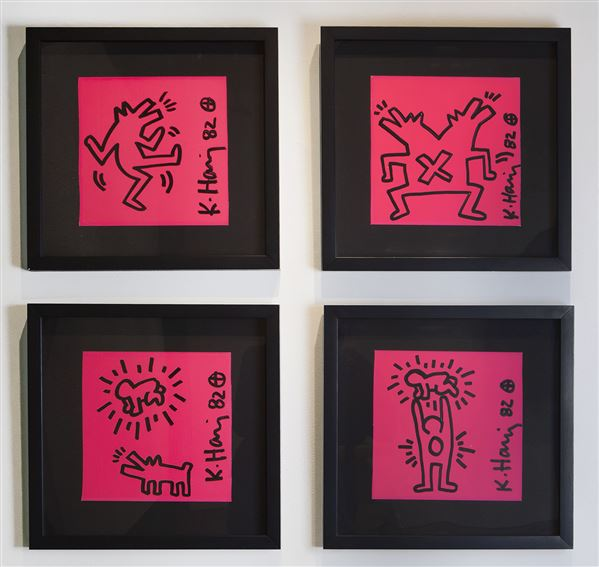 Keith Haring, Untitled (4 pieces), 1982, sharpie on paper, 9 x 9 inches each