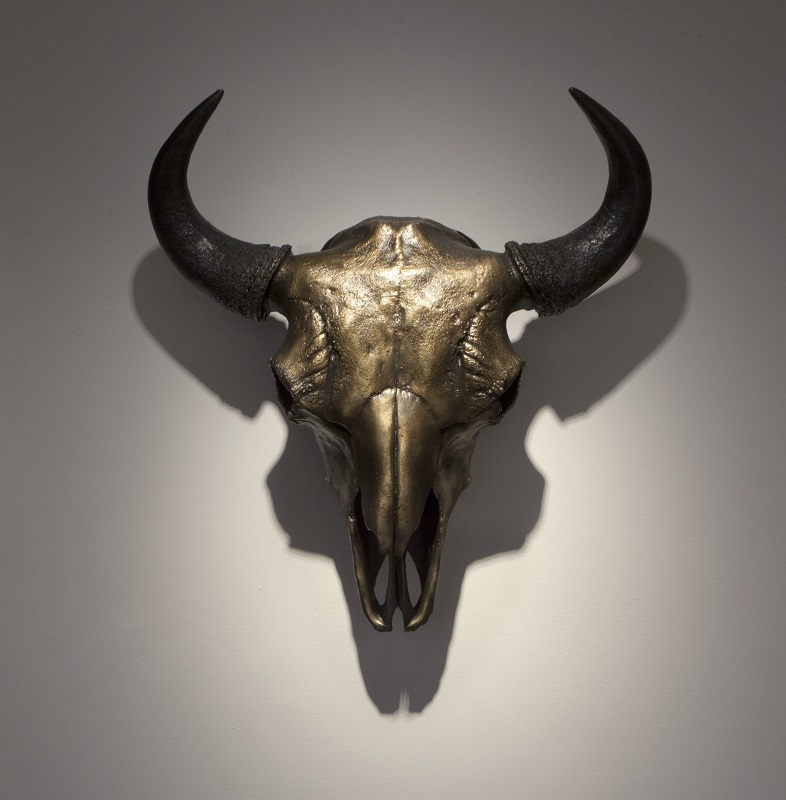 George Rivera,  Buffalo Skull , 2017, bronze, 28 x 26 ¼ x 9 inches