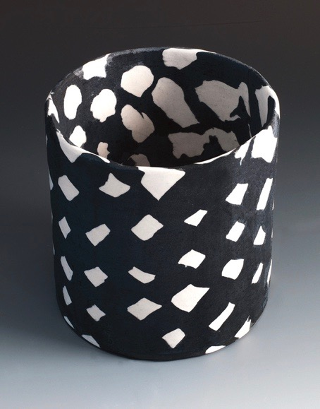 Small Checked Black & White Cylinder, 2015