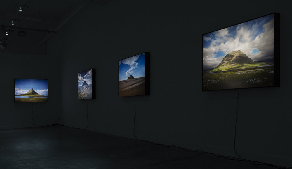Installation view of lightboxes