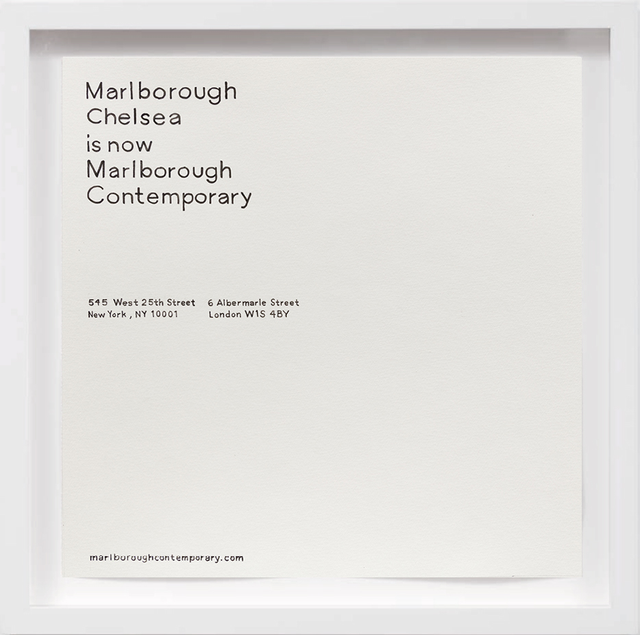Marlborough Chelsea is now Marlborough Contemporary (2017)     2017, Available