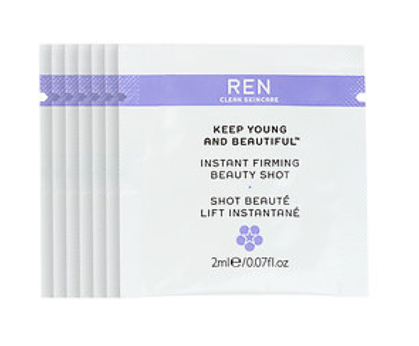 REN Keep Young And Beautiful™ Instant Firming Beauty Shot 7-day samples -  7 x 0.07 oz $25.94  Code: SHOTOFREN Released: 5/23/16   Full Size 1.02 oz $54