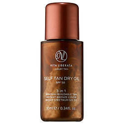 Vita Liberata Self Tan Dry Oil SPF 50 deluxe sample  0.34 oz $5.43  Code: HOTBI (choose 2) or HOTVIB (choose 3) Released: 5/26/16   Full Size 3.38 oz $54