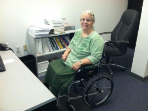 Carol Heger and her wheelchair.