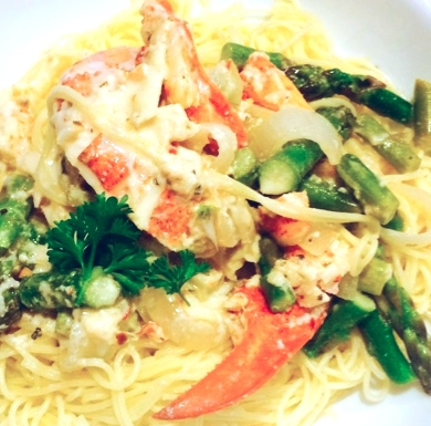Lobster and Asparagus Cream Sauce over Pasta, prepared by my Husband after I did a 16 mile run!