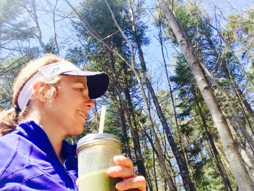 Post Brick: Had to get outside after 45 miles on the Trainer! Enjoying a walk in the woods and my Recovery Protein Smoothie.