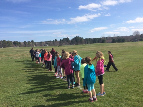 The start of the 3/4 mile for the kids Running Club