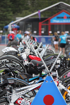 Bikes racked and ready to go in T1 the day before IMMT.