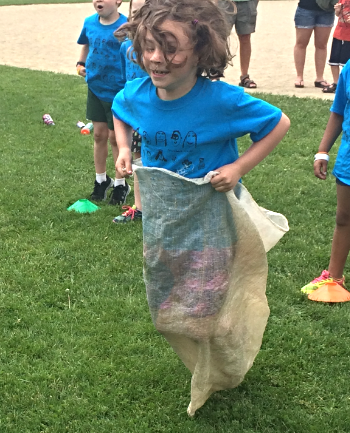 My daughter during ACES day in the potato sack race.
