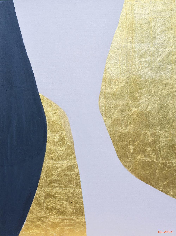 Grey Triptych #1  Gold leaf and acrylic on canvas (122x91cm)  £1,700