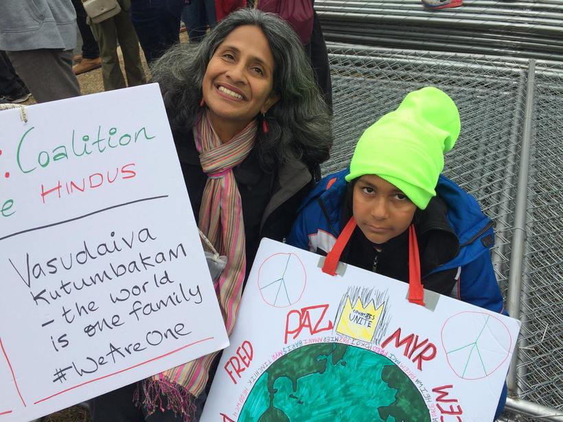 At the women's march in DC with my son Satya, Jan 21, 2017