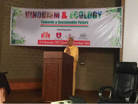 His Holiness Radhanath Swami launches the Hinduism and Ecology conference with deep prayer and profound words of wisdom and encouragement.