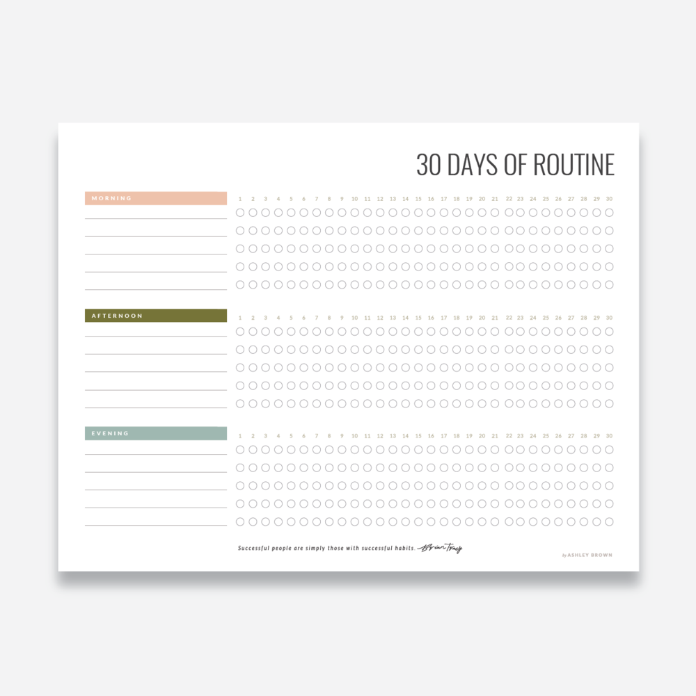 30 day routine tracker worksheet ashley brown