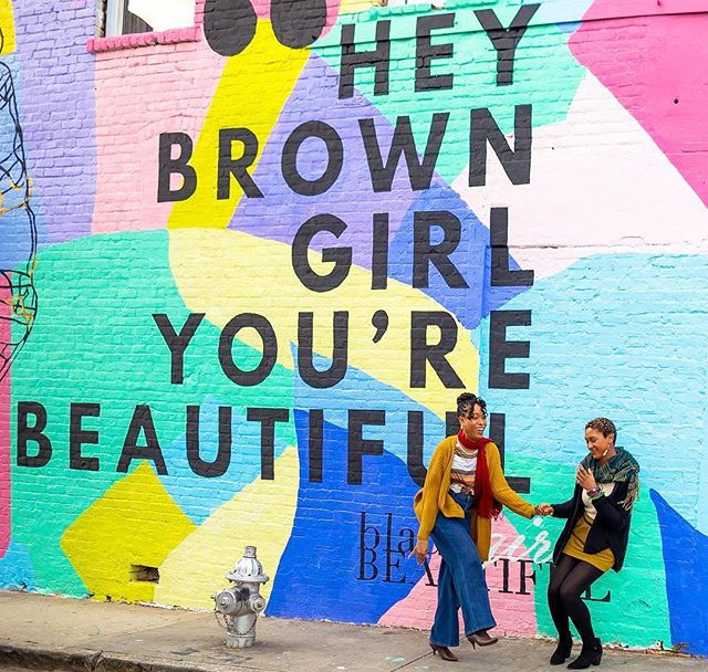 We love this love. We see you @twodoughgirls. Yes, you are beautiful! Image captured by @carolleerose. #HeyBrownGirlMural
