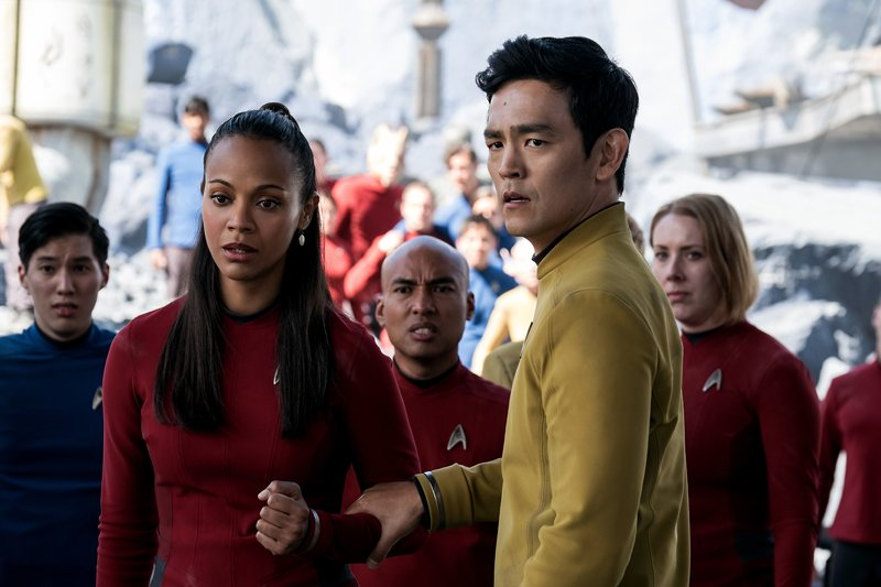 Zoe Saldana    as Uhura and  John Cho  as Sulu ||   Source  : © Paramount Pictures