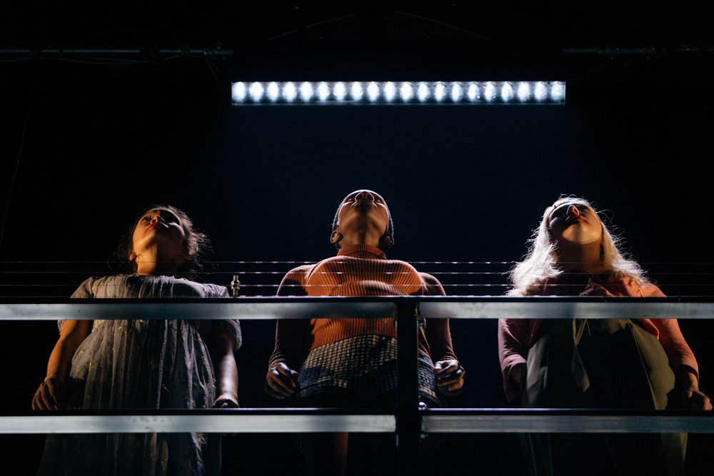 The Three Witches (L-R:   Kirsten Foster,     Kezrena James   &   Melissa Johns  ) in    OthelloMacbeth    by William Shakespeare ||  Photography by :   Helen Murray    (  HOME  : 14-29 Sept 2018 ||   Lyric Hammersmith  : 5 Oct‐3 Nov 2018)