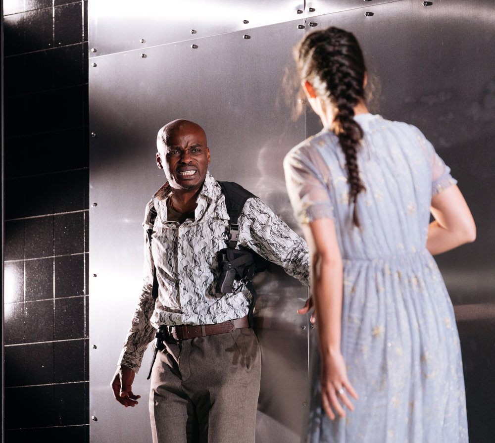 Othello (  Ery Nzaramba  ) and Desdemona (  Kirsten Foster  ) in    OthelloMacbeth    by William Shakespeare ||  Photography by :   Helen Murray    (  HOME  : 14-29 Sept 2018 ||   Lyric Hammersmith  : 5 Oct‐3 Nov 2018)