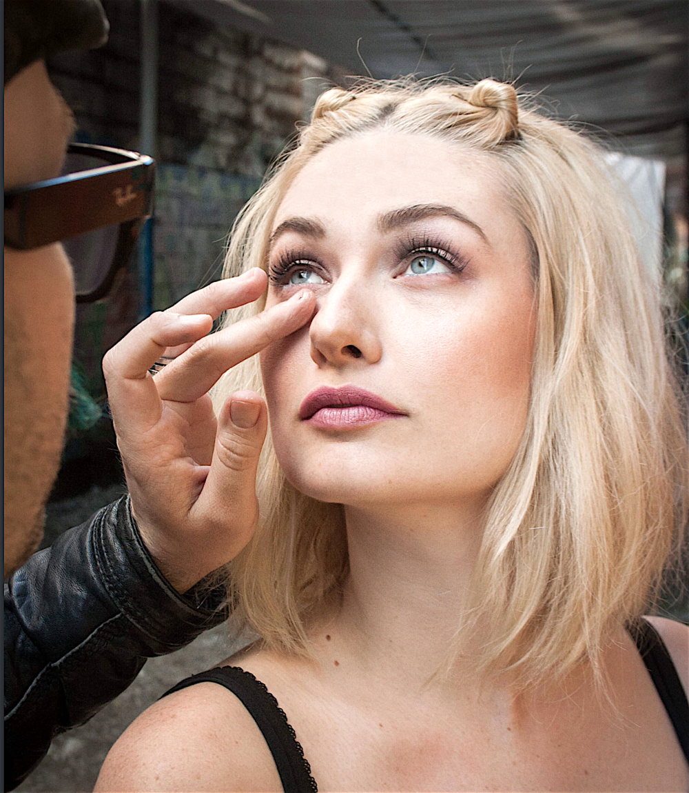 Youngblood gets a quick touch-up from makeup artist    Trever McWilson  on location at the iconic Parker Street Studio warehouse in Vancouver.Photo credit:  Grant Malo